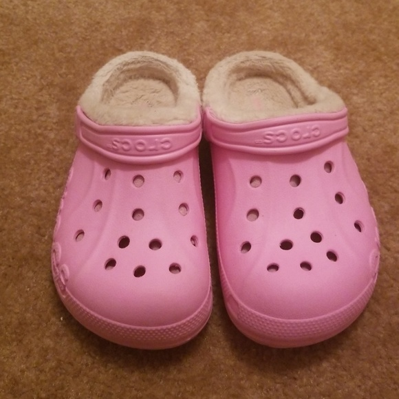 Pink Crocs Clogs Fur Lined Fuzzy